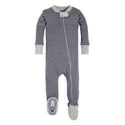 Burt's Bees Baby Baby 1-Pack Unisex Pajamas, Zip-Front Non-Slip Footed Sleeper PJs, Organi ...