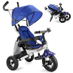 Costzon Baby Tricycle, 6-in-1 Foldable Steer Stroller, Learning Bike w/Detachable Guardrail, Adj ...