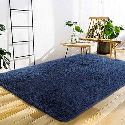 Softlife Fluffy Area Rugs for Bedroom 4′ x 5.3′ Shaggy Floor Carpet Cute Rug for Boy ...