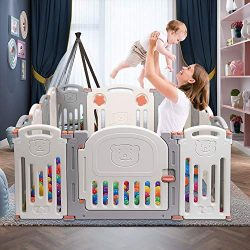 Lucky Link Baby Playpen Infants Safety Fence Foldable Portable Play Yard 14 Panels, HDPE, BPA Fr ...