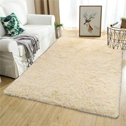 Softlife Fluffy Area Rugs for Bedroom 5.3′ x 7.6′ Shaggy Floor Rug for Girls Room Li ...
