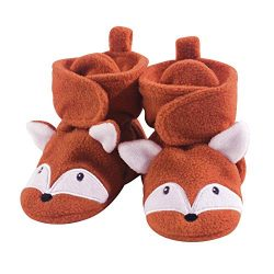 Hudson Baby Baby Cozy Fleece Booties with Non Skid Bottom, Orange Fox, 12-18 Months