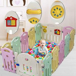 14 Panel Baby Playpen Kids Activity Centre Safety Play Yard,Home Indoor Outdoor Foldable Portabl ...