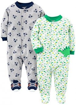 Simple Joys by Carter's Baby Boys' 2-Pack Cotton Footed Sleep and Play, Dino/Sports, ...