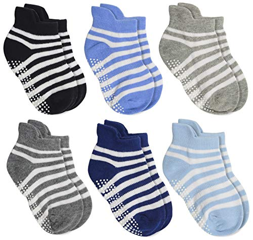 Aminson Anti Slip Non Skid Ankle Socks With Grips for Baby Toddler Kids Boys Girls (6 pairs-stri ...