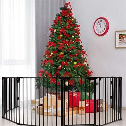 Costzon 204-Inch Wide Baby Safety Gate, 8-Panel Fireplace Fence with Walk-Through Door in Two Di ...