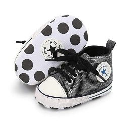 Save Beautiful Baby Girls Boys Canvas Sneakers Soft Sole High-Top Ankle Infant First Walkers Cri ...