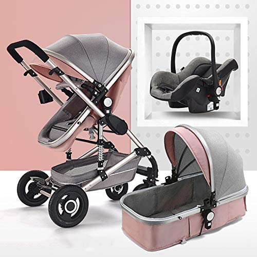 Znesd Infant Baby Stroller for Newborn and Toddler – 3-in-1 Modular Travel System, Portab ...