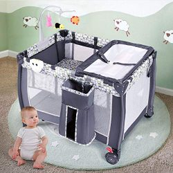 Costzon Baby Playard, 3 in 1 Convertible Playpen with Bassinet, Changing Table, Foldable Bassine ...