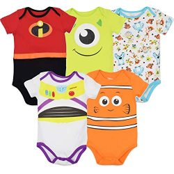 Disney Pixar Baby Boy Girl 5 Pack Bodysuits Nemo Buzz Incredibles Monsters Inc. 24 Months