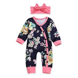 Newborn Baby Girl Clothes Floral Long Sleeve Footless Romper Jumpsuit 0-3 Months Blue