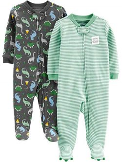 Simple Joys by Carter's Boys' 2-Pack Cotton Footed Sleep and Play, Dino/Stripe, 0-3  ...