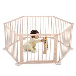 Tobbi Wooden Baby Playpen Safety Activity Centre Safety Play Yard Home Indoor Outdoor New Pen