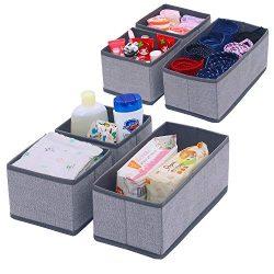 Onlyeasy Set of 6 Soft Fabric Dresser Drawer Bins, Clothing Closet Storage Organizer for Kids/To ...