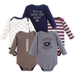 Hudson Baby Unisex Baby Long Sleeve Cotton Bodysuits, Football Season Long Sleeve 5 Pack, 6-9 Mo ...