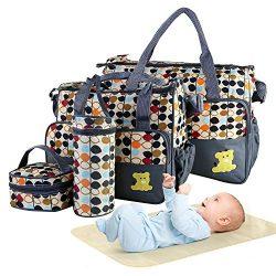 5PCS Diaper Bag Tote Set – Moclever Baby Bags for Mom, Zipper Handbag, Portable Diaper Pad ...