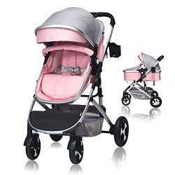 Cchainway 2 in 1 Baby Stroller, High Landscape Infant Stroller & Reversible Bassinet Pram, F ...