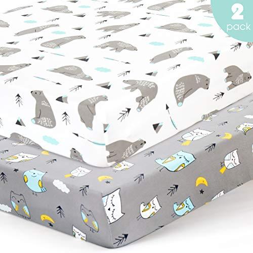 Stretchy-Crib-Sheets-Set-BROLEX 2 Pack Portable Crib Mattress Topper for Baby Boys Girls,Ultra S ...