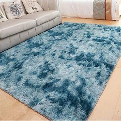 LOCHAS Luxury Velvet Shag Area Rug Modern Indoor Fluffy Rugs, Extra Comfy and Soft Carpet, Abstr ...