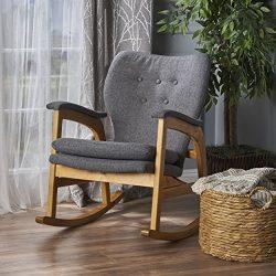 Christopher Knight Home Bethany Mid Century Fabric Rocking Chair (Grey), Light Walnut