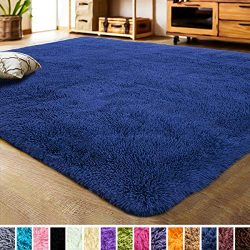 LOCHAS Luxury Velvet Bedroom Rugs Living Room Carpet, Fluffy, Super Soft Cozy, Bright Color, Hig ...