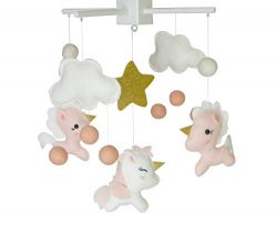 Baby Crib Mobile by Baby Sanda (Pink, Gold and White)