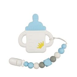 YXFWL Silicone Baby teether Teething Toys for Babies BPA Free with Pacifier Clip Holder Pain Rel ...