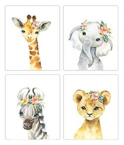Little Baby Watercolor Animals Floral Crown Safari Prints Set of 4 (Unframed) Nursery Decor Art  ...