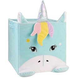 Chener Unicorn Toy Storage Bins Plush Toy Box for Kids Smell Free Velvet Cube Organizer Collapsi ...