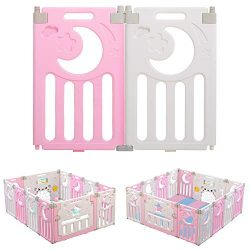 Baby Playpen, Dripex 2 Panel Super Playpen Play Yard Baby Gate Large Extension for Baby Girls Bo ...