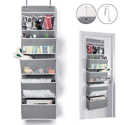 Univivi Door Hanging Organizer Nursery Closet Cabinet Baby Storage with 4 Large Pockets and 3 Sm ...