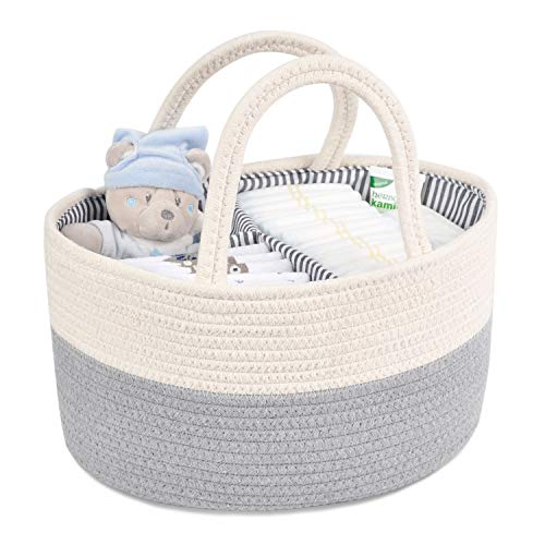 CERBIOR Baby Diaper Caddy Organizer, Rope Nursery Storage Bin and Portable Large Diaper Stackers ...