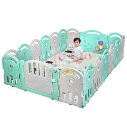 Costzon Baby Playpen, 18-Panel Kids Safety Yard Activity Center Playard with Safety Lock & E ...
