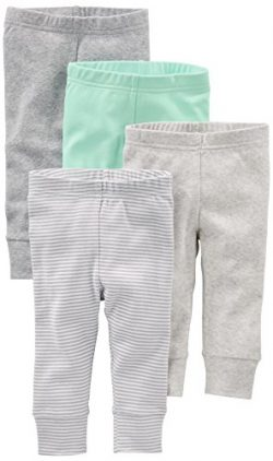 Simple Joys by Carter's Baby 4-Pack Pant, Gray/Mint, 0-3 Months