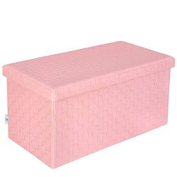 B FSOBEIIALEO Folding Storage Ottoman, Faux Leather Footrest Stool Long Bench, Pink 30″x15 ...