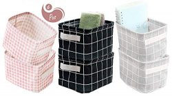 AARainbow 6 Packs Storage Basket Bins Canvas Mini Storage Cubes Storage Basket for Makeup, Baby  ...