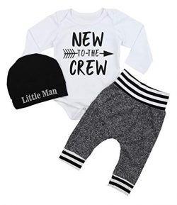 Newborn Baby Boy Clothes New to The Crew Letter Print Romper+Short Pants+Hat 3PCS Outfits Set 0- ...