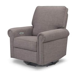 Million Dollar Baby Classic Linden Power Recliner and Swivel Glider in Grey Tweed | USB Charging ...