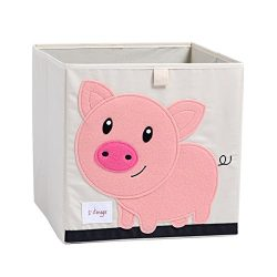 DODYMPS Foldable Animal Canvas Storage Toy Box/Bin/Cube/Chest/Basket/Organizer for Kids, 13 inch ...