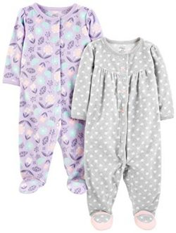 Simple Joys by Carter's Girls' 2-Pack Fleece Footed Sleep and Play, Purple/Flowers/G ...