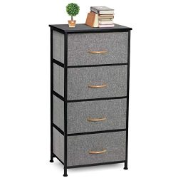 COSYLAND 4 Drawer Dresser Storage Tower, Fabric Organizer Unit Stable for Bedroom, Closet, Entry ...