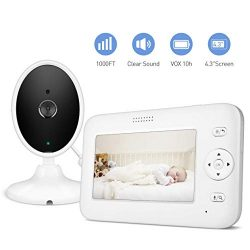 Baby Monitor, 4.3″ Video Baby Monitor with Camera Audio, Long Battery Life/VOX, 1000ft Ran ...