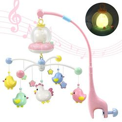Marumine Baby Musical Crib Mobile with Night Light and Soft Music, Hanging Rotating Rattles, Mul ...