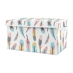 Sweet Jojo Designs Turquoise and Coral Boho Girl Baby Nursery or Kids Room Small Fabric Toy Bin  ...