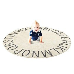 Ultra Soft Cotton Baby Kids Rug Educational ABC Alphabet Round Area Rug Toddler Game Playmat Dia ...