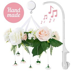 Rose Flower Baby Mobile with Music Box & Crib Arm. Handmade Floral Baby Crib Mobile. Girl Nu ...