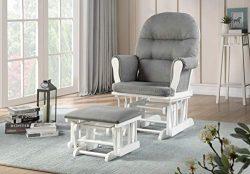 Lennox Furniture Emily Glider Chair & Ottoman Combo, White/Grey