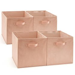 EZOWare Set of 4 Foldable Fabric Basket Bin, Collapsible Storage Cube Boxes for Nursery Toys (13 ...