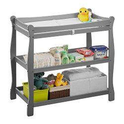 Kealive Baby Changing Table, Infant Diaper Changing Table Wood 2 Fixed Shelves Storage, Newborn  ...