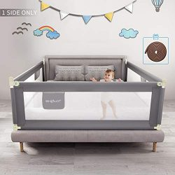 Mingfuxin Foldable Crib Rail Guard for Baby, Bed Fence Safety Gate Baby Barrier for Crib Guardra ...